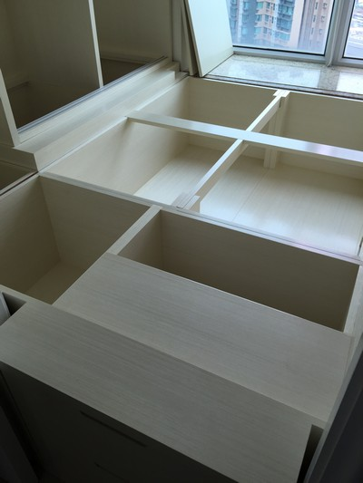 Japanese Moisture-proof tatami with solid wood platform furniture and wardrobe.<br />October, 2015