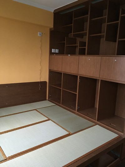 Japanese traditional tatami with platform furniture and wardrobe.<br />June, 2016