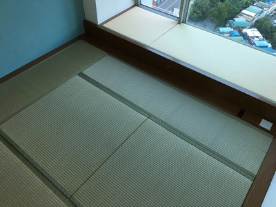 Japanese Traditional Tatami and Japanese Moisture-proof Tatami with platform storage furniture.<br />June, 2016